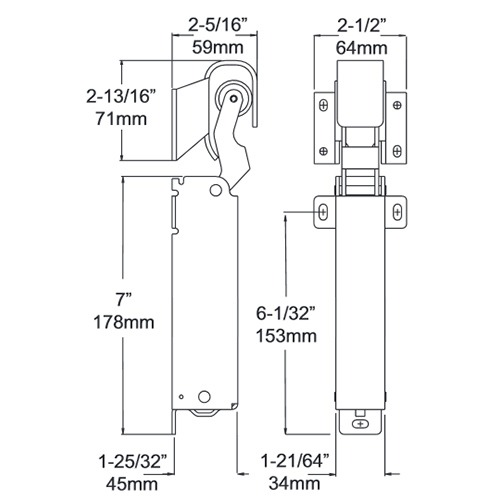 DOOR CLOSER - KASON 1094 - Hydraulic - Standard Mount - Flush Hook